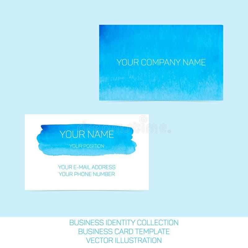 Coleção da identidade do negócio Aquarela do azul e da turquesa Parte dianteira e versos para o molde do cartão ilustração royalty free