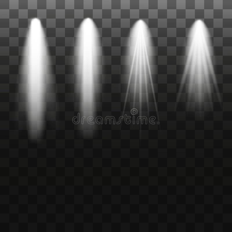 Coleção da iluminação da cena, efeitos transparentes Iluminação brilhante com projetores Ilustração do vetor ilustração do vetor