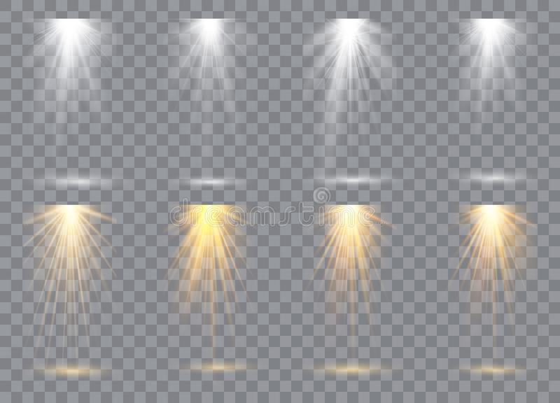 Coleção da iluminação da cena, efeitos transparentes Iluminação brilhante com projetores ilustração stock