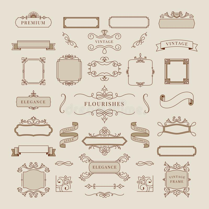 Coleção da ilustração do quadro do ornamento do vintage ilustração stock
