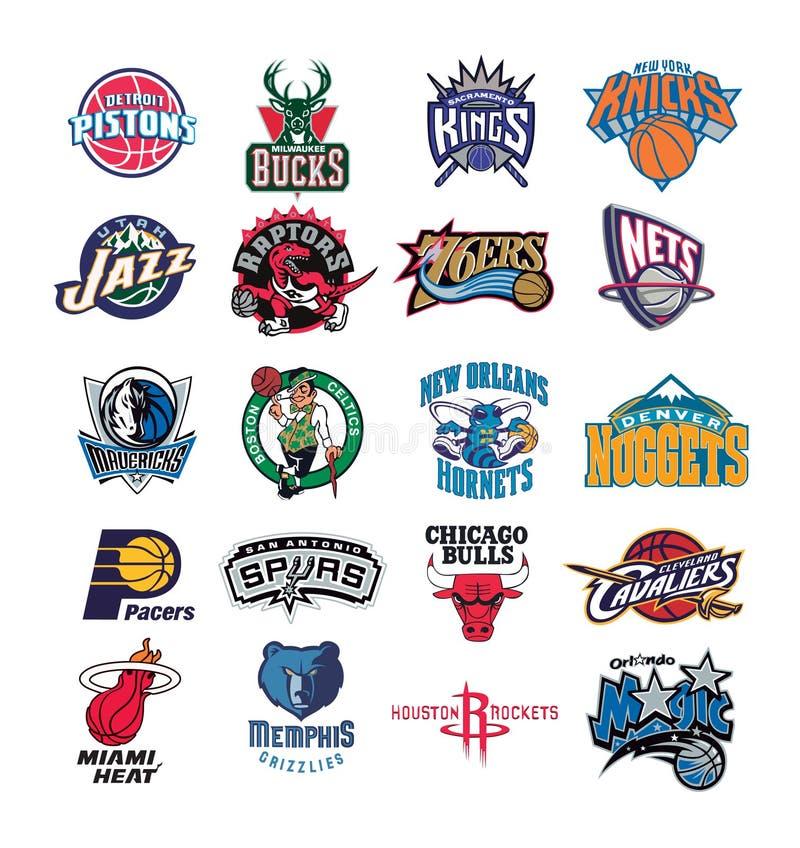 Coleção da ilustração do vetor dos logotipos da equipe de NBA fotografia de stock