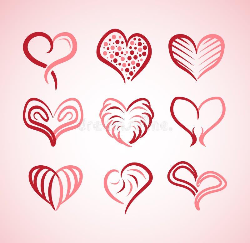 Coleção da ilustração dos corações com estilos diferentes ilustração stock