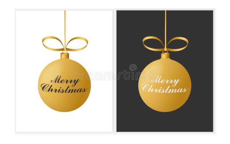 Coleção da ilustração preto e branco do vetor dois com as bolas do Natal do ouro e a frase do Feliz Natal ilustração stock