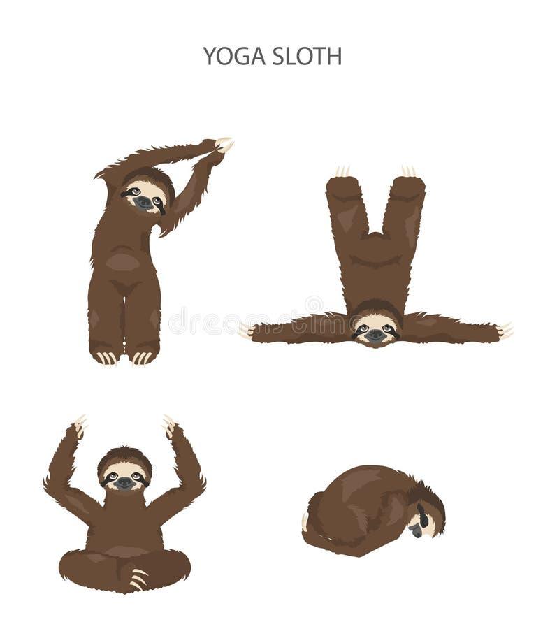 Cole??o da ioga da pregui?a Animais engra?ados dos desenhos animados nas posturas diferentes ajustadas ilustração stock
