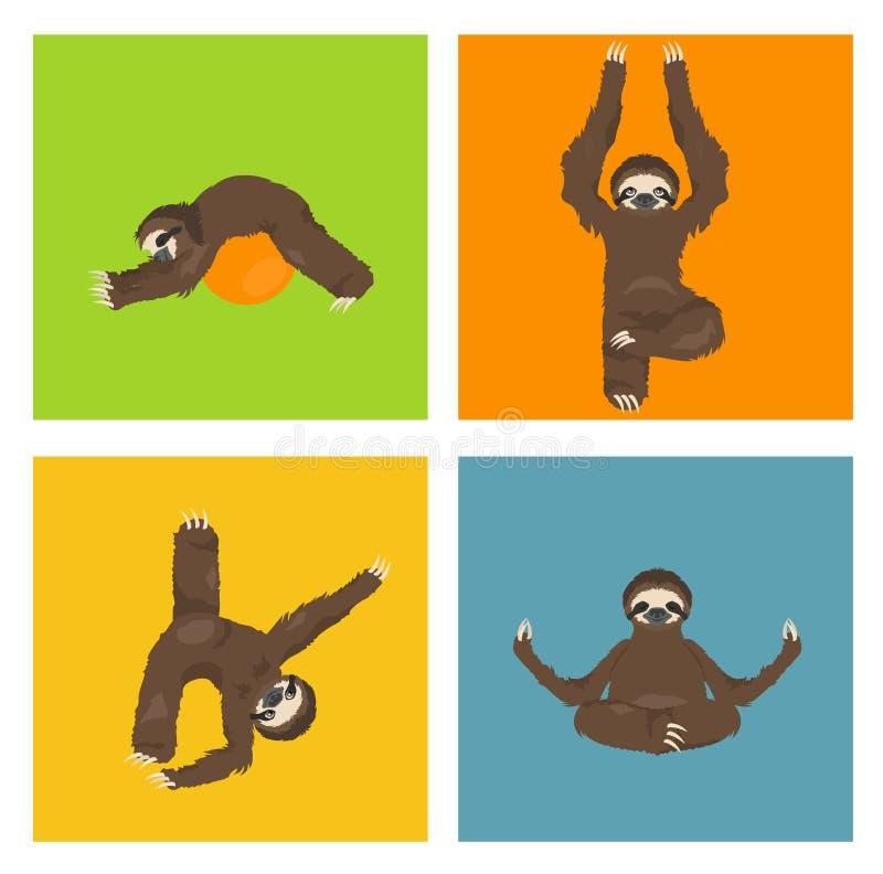 Cole??o da ioga da pregui?a Animais engra?ados dos desenhos animados nas posturas diferentes ajustadas ilustração do vetor