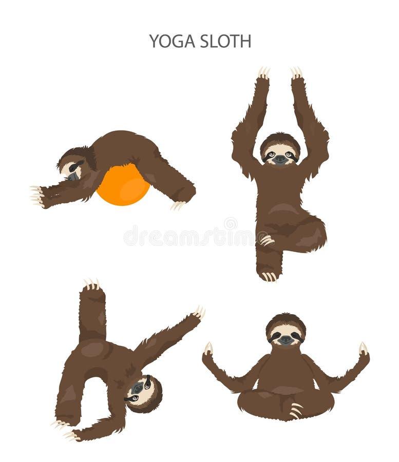 Cole??o da ioga da pregui?a Animais engra?ados dos desenhos animados nas posturas diferentes ajustadas ilustração royalty free