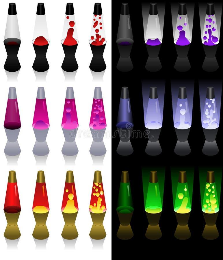 Coleção da lâmpada da lava ilustração royalty free