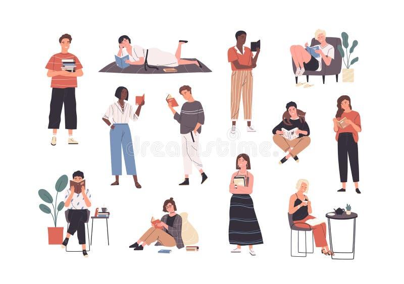 Coleção da leitura ou dos estudantes dos povos que estudam e que preparam-se para o exame Ajuste dos amantes de livro, leitores,  ilustração royalty free