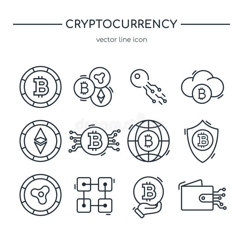 Coleção da linha ícones do cryptocurrency ilustração royalty free