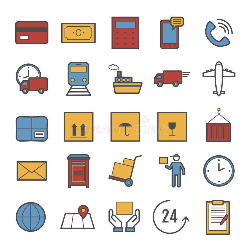 Coleção da linha ícones do vetor da entrega imagens de stock