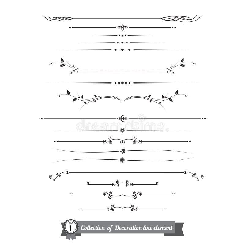 A coleção da linha decorativa elementos, beira e página ordena a VE ilustração stock