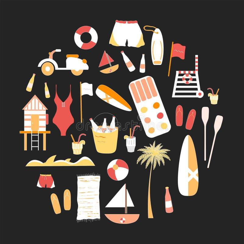 Coleção da linha lisa ícones do verão do vetor imagem de stock royalty free