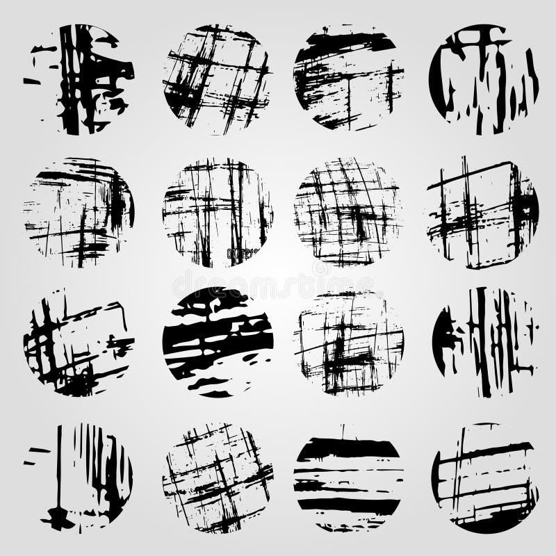 Coleção da linha monocromática da faixa do grunge em um fundo claro ilustração do vetor