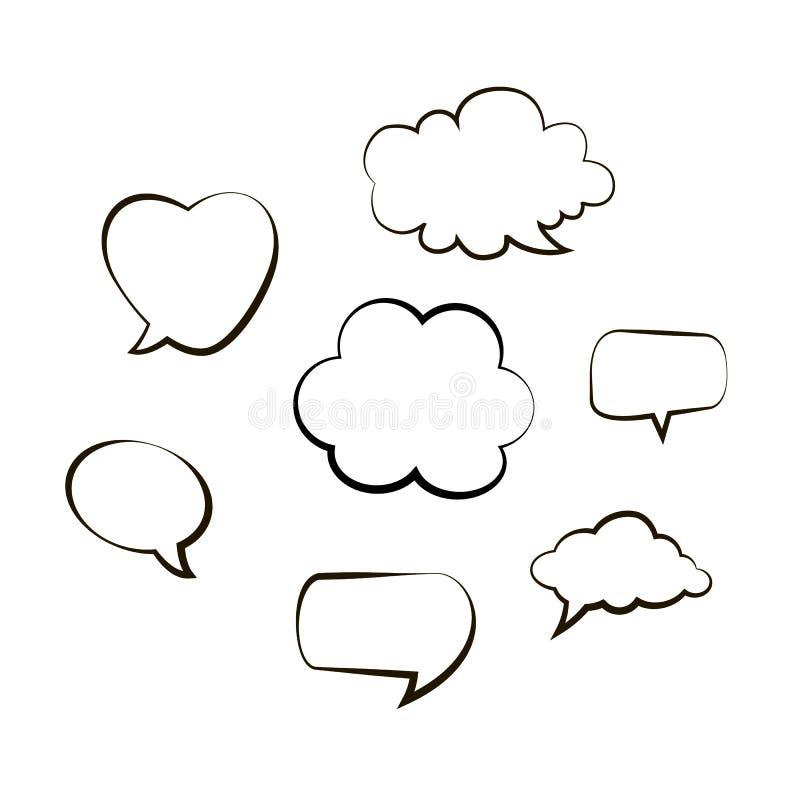 A coleção da mão tirada pensa e fala a mensagem das bolhas do discurso Balão cômico preto do estilo da garatuja, nuvem, eleme do  ilustração stock