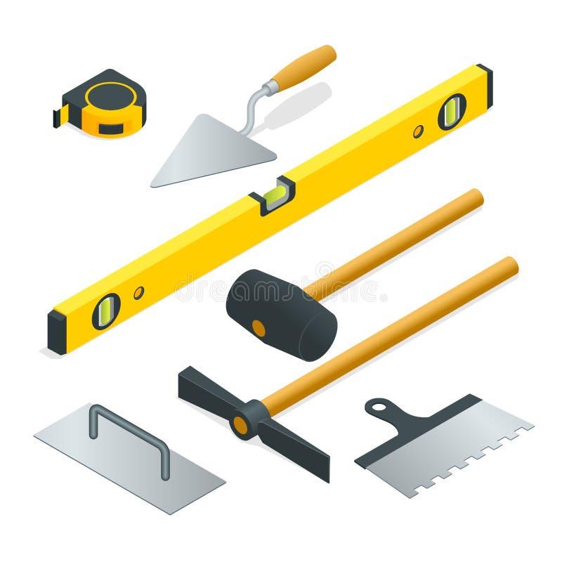 Coleção da maioria de tipos comuns de ferramentas da alvenaria Ilustração isométrica lisa do vetor 3d ilustração royalty free