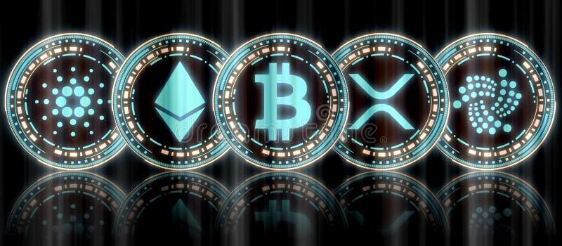 Coleção da moeda cripto múltipla digital de incandescência da moeda do ouro azul ajustada e do BTC no meio ilustração do vetor