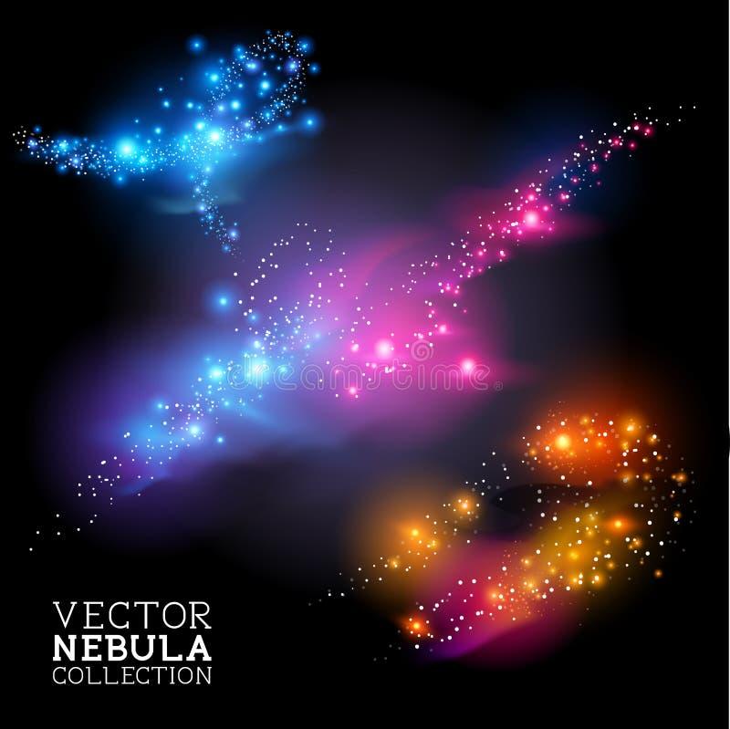 Coleção da nebulosa do vetor ilustração stock