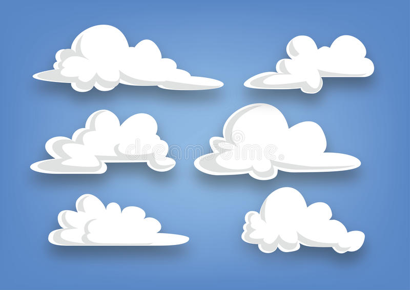 Coleção da nuvem do estilo dos desenhos animados, grupo de nuvens - ilustração ilustração royalty free