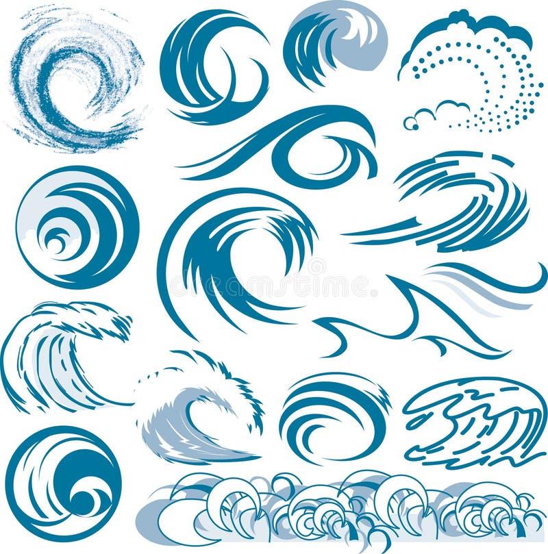 Coleção da onda ilustração stock