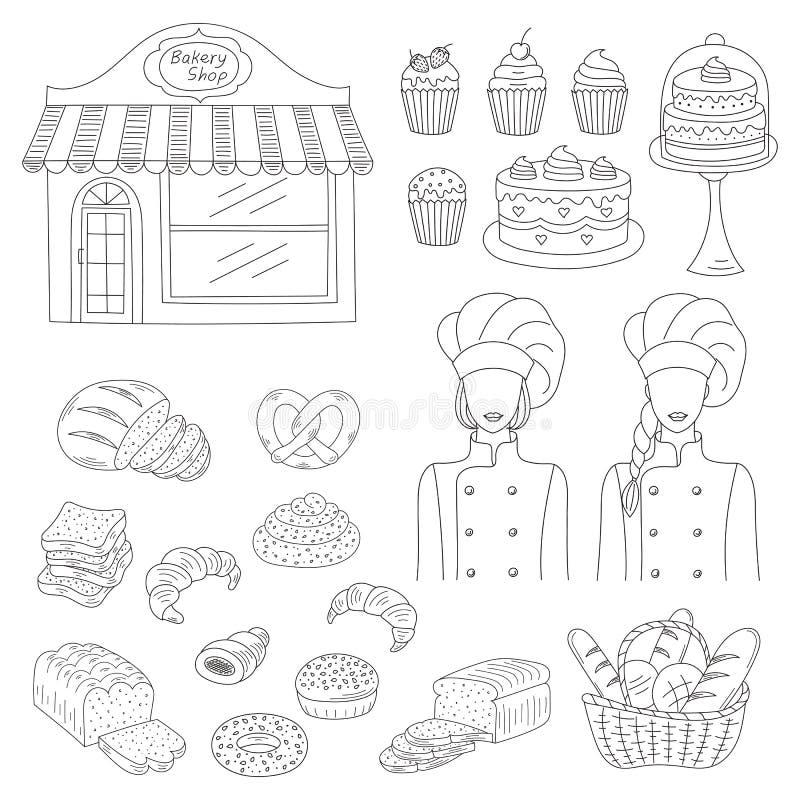 Coleção da padaria, ilustração tirada mão do vetor do estilo da garatuja ilustração do vetor
