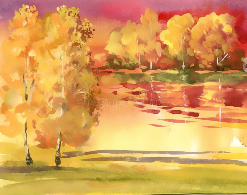 Coleção da paisagem do outono da aquarela ilustração royalty free