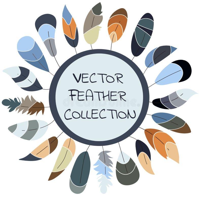 Coleção da pena do vetor, grupo Projeto escandinavo Cores macias ilustração stock