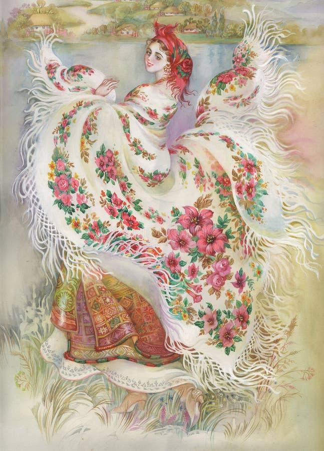 Coleção da pintura: Xaile branco ilustração stock