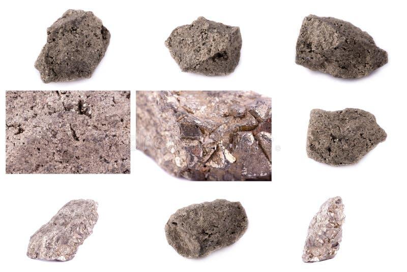 Coleção da pirite mineral de pedra fotografia de stock