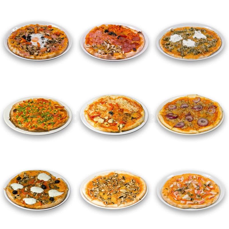 Coleção da pizza imagens de stock