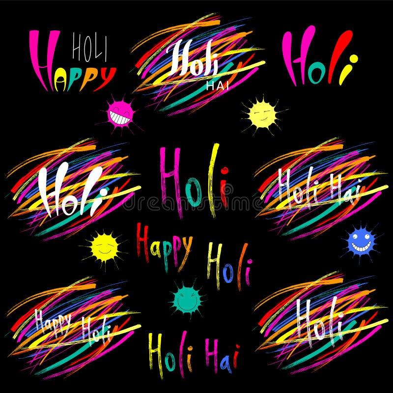 Coleção da rotulação de Holi ilustração stock