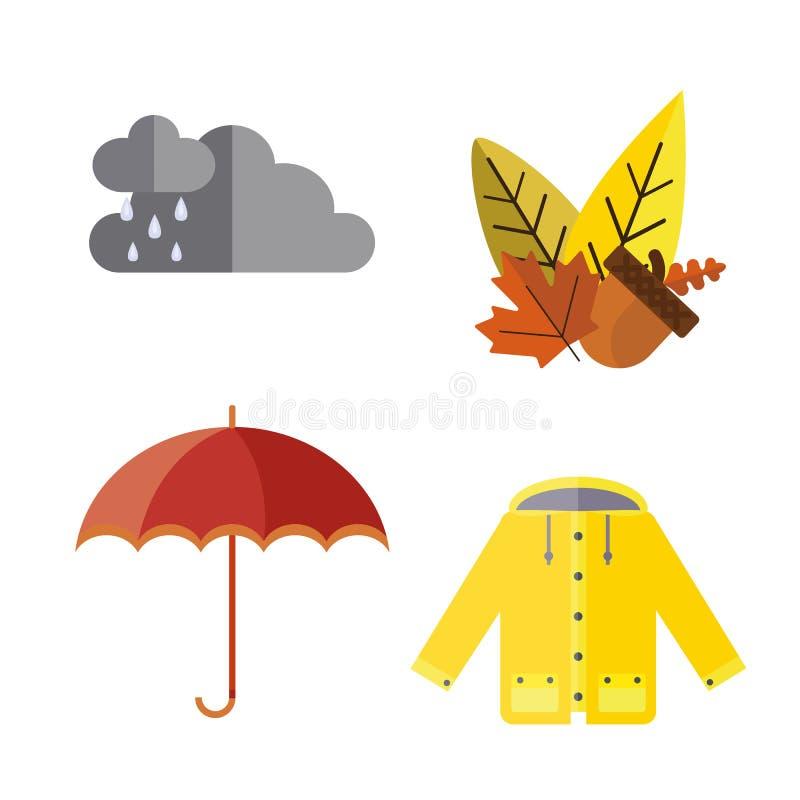 A coleção da roupa do outono ajustou artigos que a bolota da queda sae de botas das peúgas do Parka da capa de chuva do revestime ilustração stock