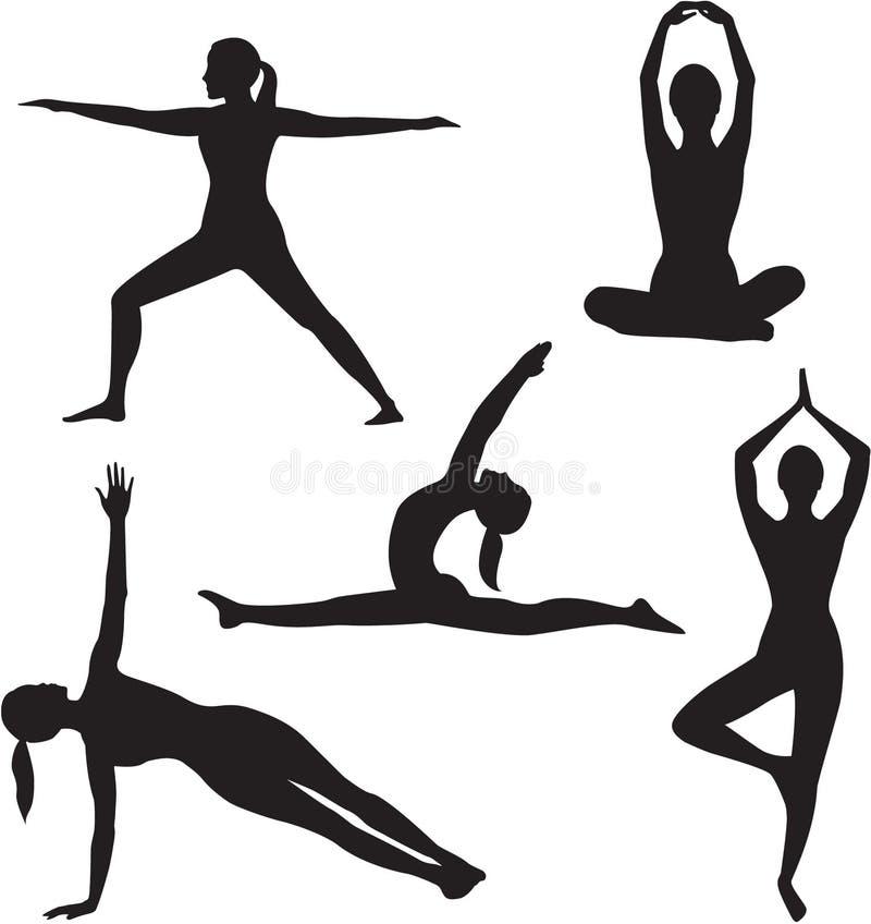 Coleção da silhueta da mulher da ioga. ilustração stock