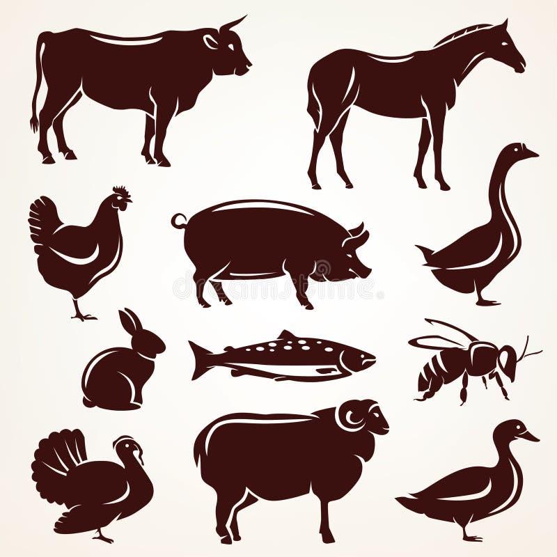 Coleção da silhueta dos animais de exploração agrícola ilustração royalty free