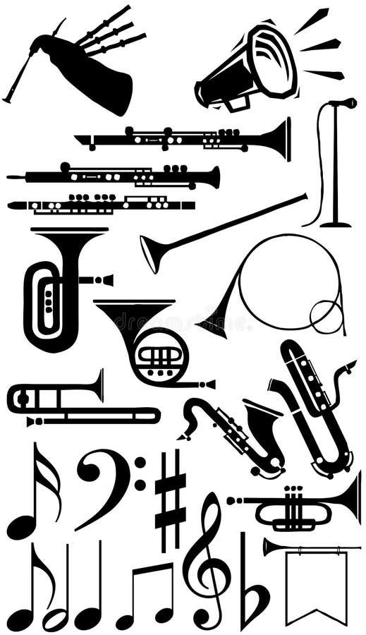 Coleção da silhueta dos instrumentos musicais imagens de stock royalty free