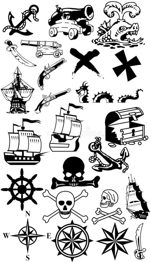 Coleção da silhueta dos piratas foto de stock