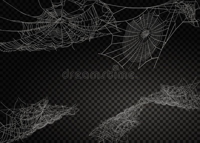 Coleção da teia de aranha, isolada no fundo preto, transparente ilustração royalty free
