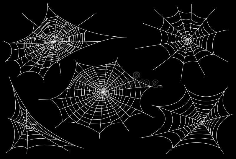 Coleção da teia de aranha, isolada no fundo preto, transparente Spiderweb para o projeto de Dia das Bruxas Elementos da Web de ar ilustração royalty free
