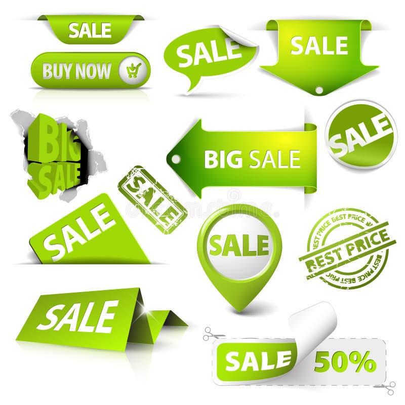 A coleção da venda verde tickets, etiquetas, selos ilustração stock