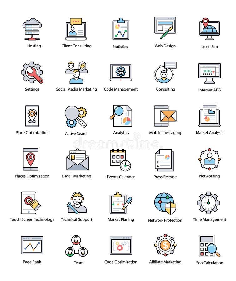 Coleção da Web e do Seo Flat Vetora Icons ilustração stock