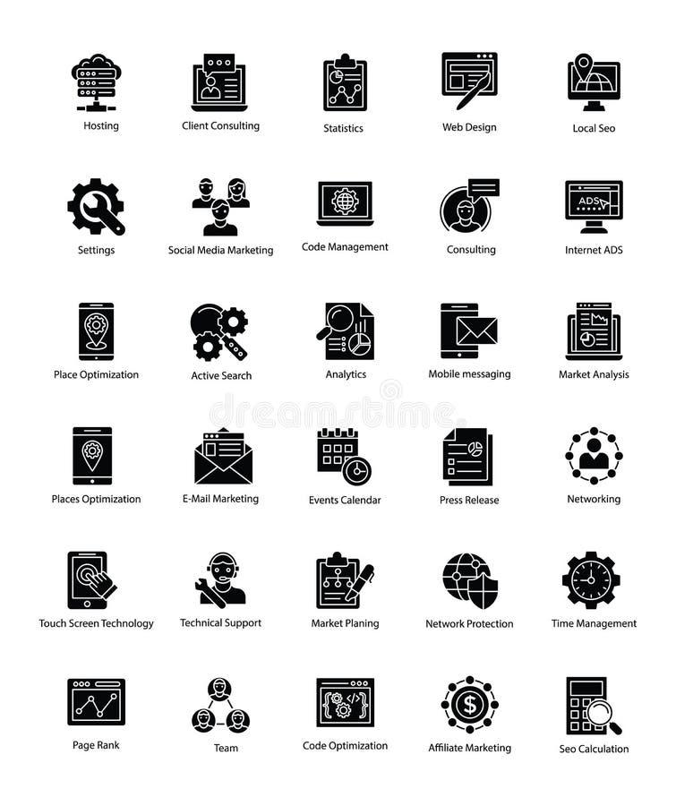 Coleção da Web e do Seo Glyph Vetora Icons ilustração do vetor