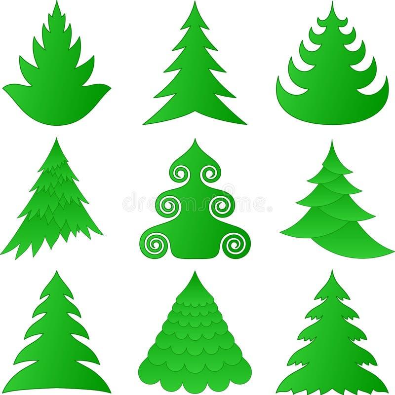 Coleção das árvores de Natal ilustração royalty free