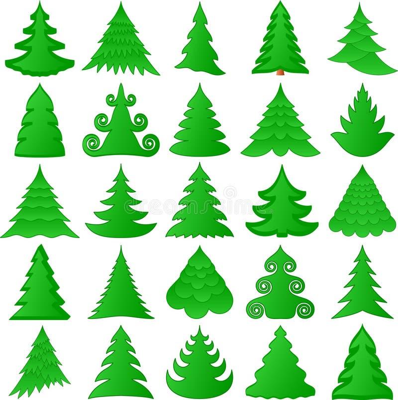 Coleção das árvores de Natal ilustração stock