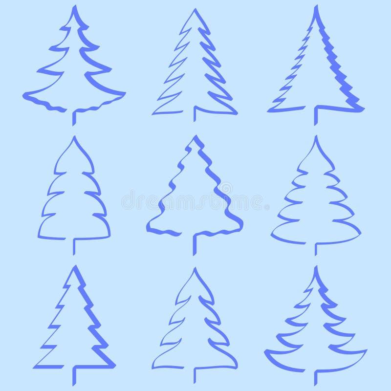 Coleção das árvores de Natal ilustração do vetor