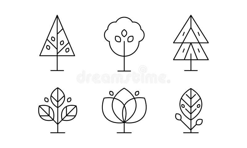 Coleção das árvores no estilo linear, ilustração decorativa do vetor das plantas em um fundo branco ilustração stock