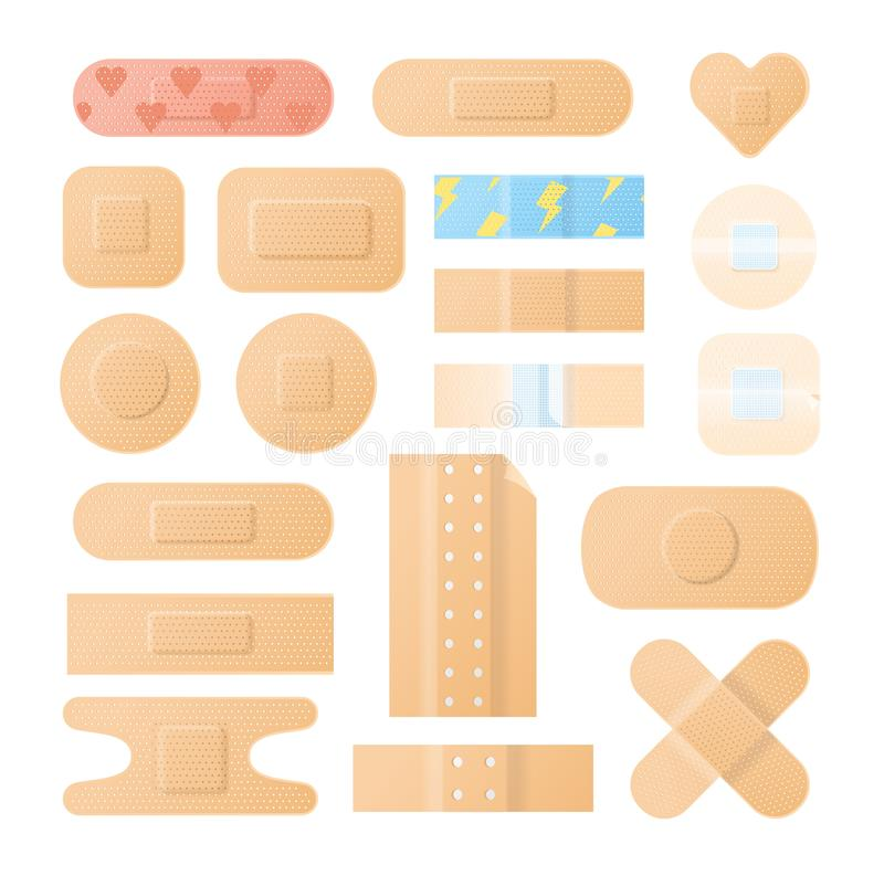 Coleção das ataduras, dos emplastros ou dos remendos esparadrapos isolados no fundo branco Pacote de molhos médicos de ilustração do vetor