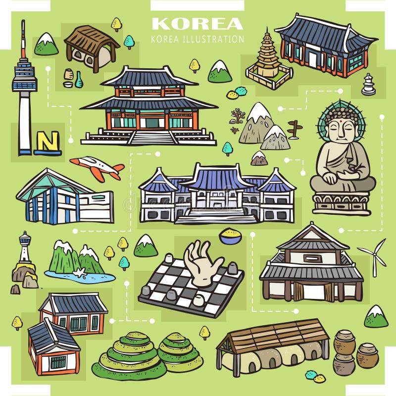 Coleção das atrações de Coreia ilustração royalty free