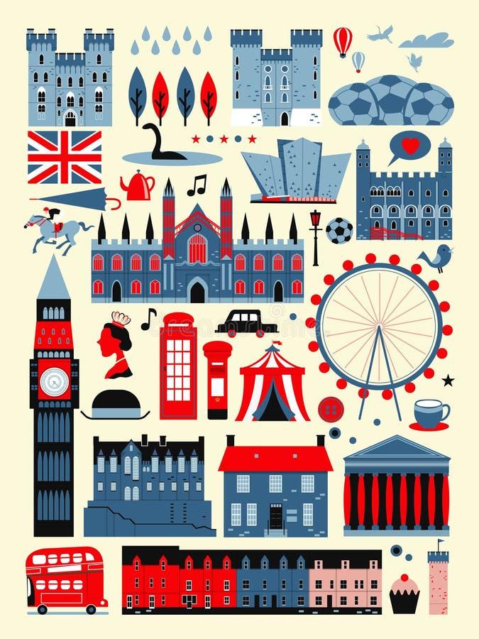Coleção das atrações de Reino Unido ilustração stock