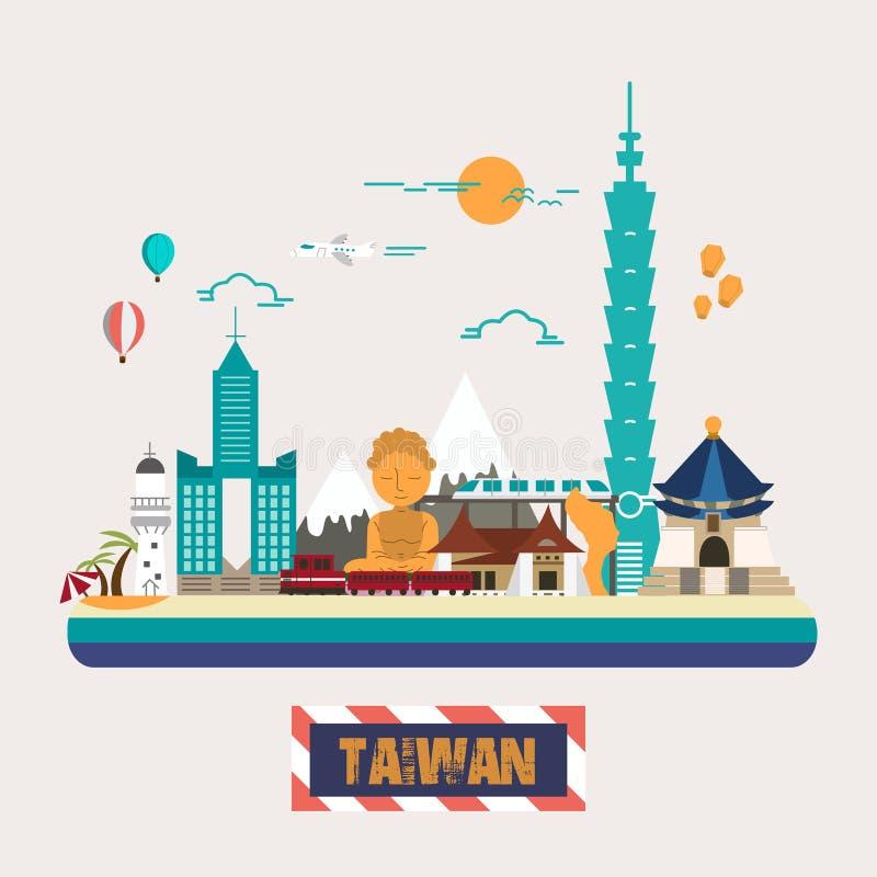 Coleção das atrações de Taiwan ilustração do vetor