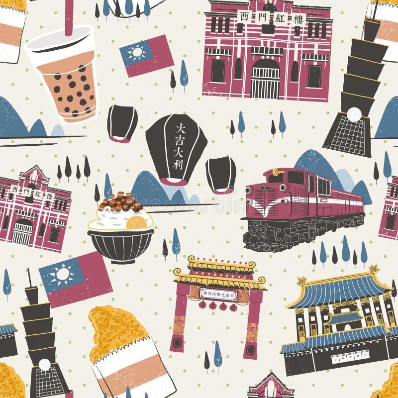 Coleção das atrações de Taiwan ilustração royalty free