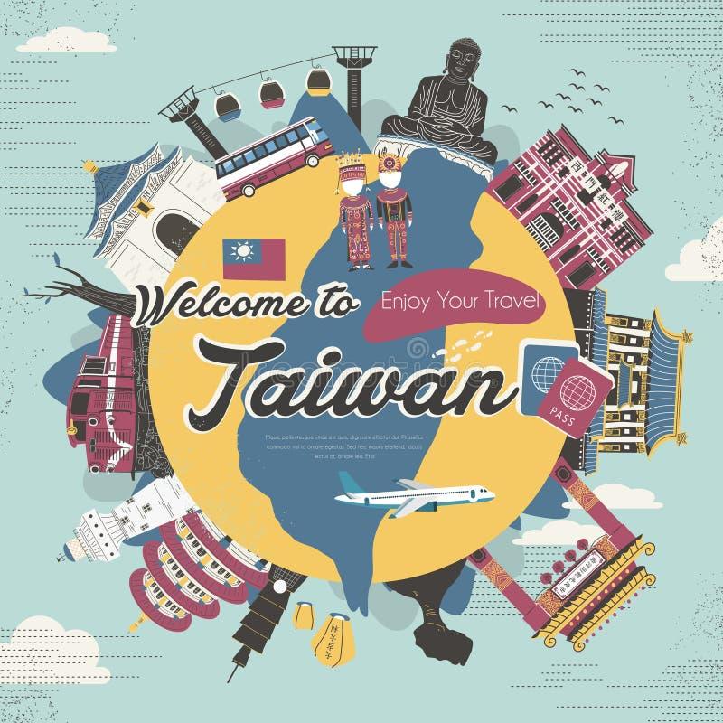 Coleção das atrações de Taiwan no estilo liso do projeto ilustração do vetor